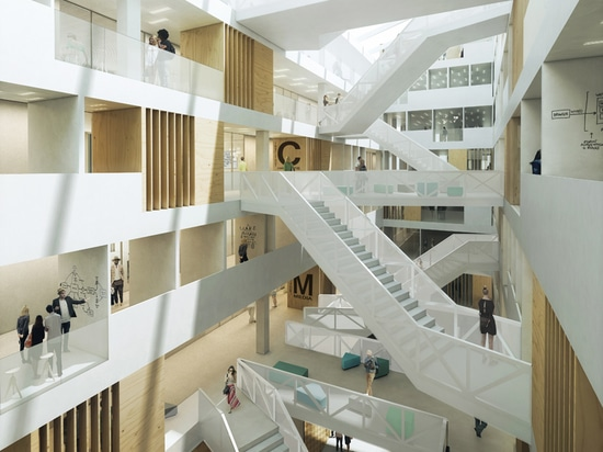 the atrium becomes the building's meeting place where paths cross and experiences are shared