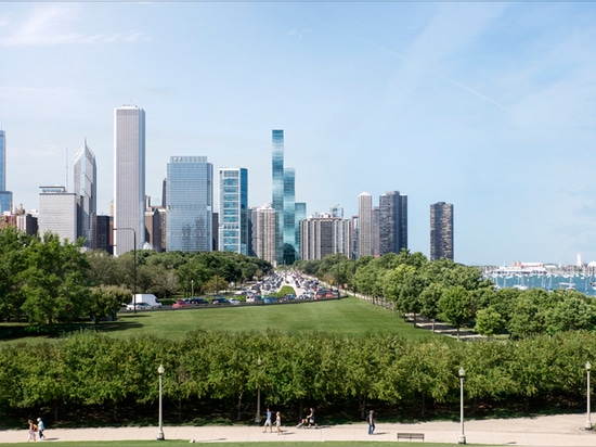 the 95 storey tower sits overlooking lake michigan in chicago's lakeshore east neighborhood
