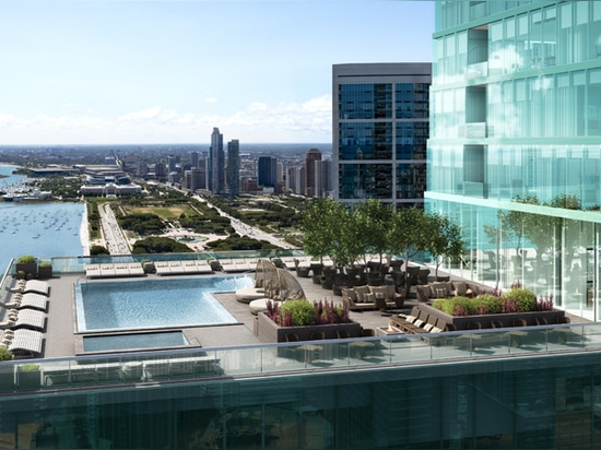 the residents can enjoy an outdoor terrace and pool facilities on the 47th floor