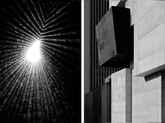 Left: Kapelle fur den heiligen Bruder Klaus by Peter Zumthor (2009). Photography: Hélène Binet, courtesy ammann gallery Right: Rosenthal Center for Contemporary Art by Zaha Hadid (2003). Photograph...