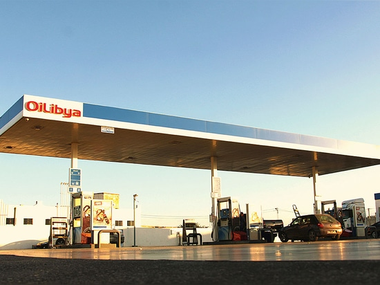 CID for petrol stations - Oil Lybia:  Stripe coated aluminium composite panels for canopies