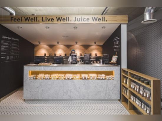 Jump Studios dresses Soho juice bar with industrial fittings and tiled herringbone floor