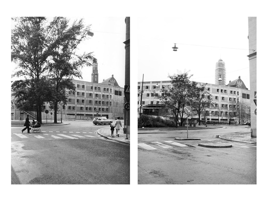 Main façade towards the street in Stockholm's upscale Östermalm neighbourhood where the ivy intended to cover the raw concrete never really took hold. (Photos: Sten Vilson, 1970 and Tove Freiij, 2015)