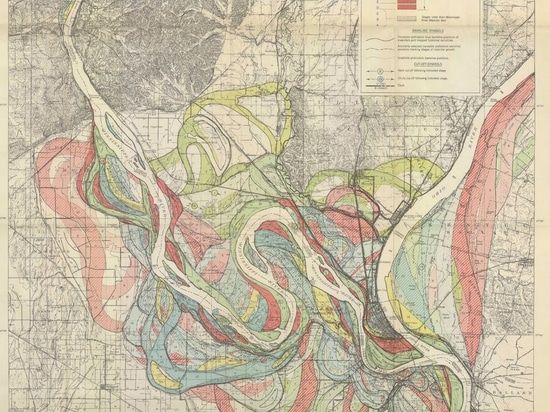 Map of the historical meanders of the Mississippi river, by Harold Fisk, 1944.