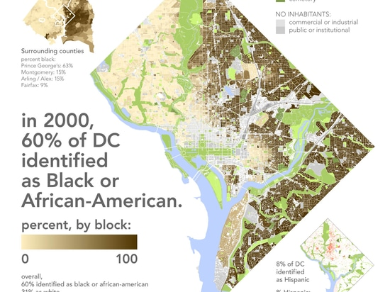 One particularly striking series identifies the remarkable racial divide in Washington D.C. (Map: Bill Rankin)