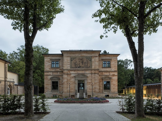 The tree-lined path leading to the grand entrance of Richard Wagner's former home, Haus Wahnfried, with the new museum entrance and extension positioned more subtly to stage right. (All photos ©Mar...
