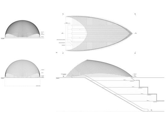 Berger Anziutti Architects, La Canopée des Halles. Technical drawing, Concept Patrick Berger © Patrick Berger et Jacques Anziutti