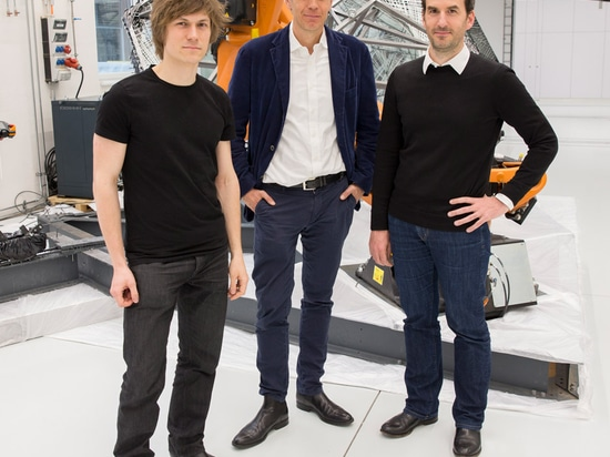Achim Menges (right) is currently working with architect Moritz Dörstelmann (left) and engineer Jan Knippers (middle) on a carbon-fibre pavilion for London's V&A