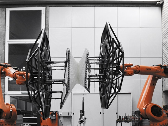 A pair of KUKA robots have been used to build a prototype for the V&A pavilion