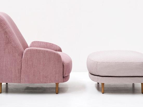 Claesson Koivisto Rune designs Santiago seating with sloped backs for Tacchini