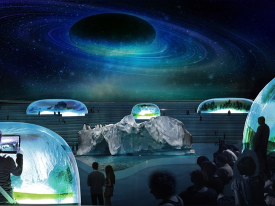 At night, a sliding roof would cover the site and double as a planetarium