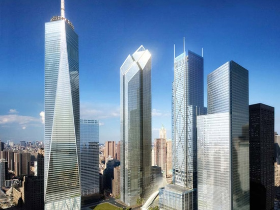 Foster + Partners originally proposed a faceted glass tower with a slanted, diamond-shaped top for Two World Trade Center (second tower from left)
