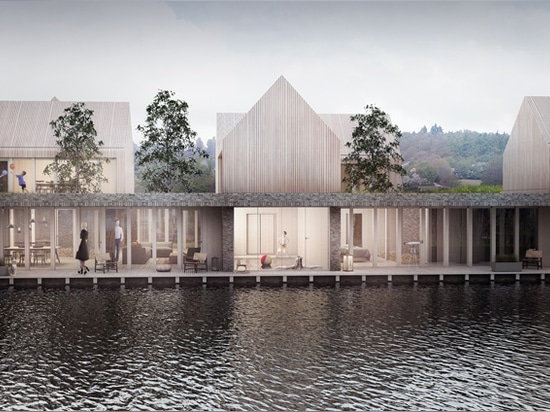 A Place to Be by students Mateusz Ploszaj-Mazurek and Natalia Okolus comprises three timber-clad volumes overlooking a lake