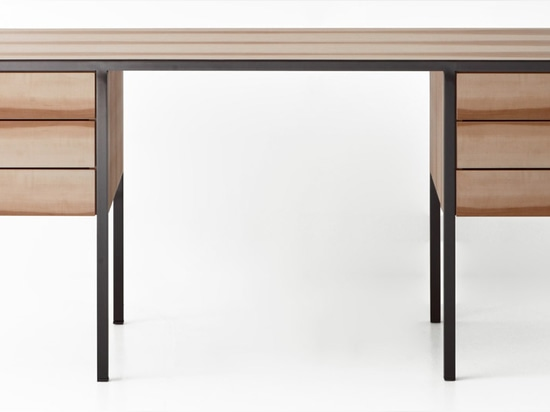 GamFratesi's Collector desk has shelving hung on either side