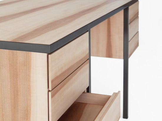 The duo's Collector desk is made from a minimal metal support
