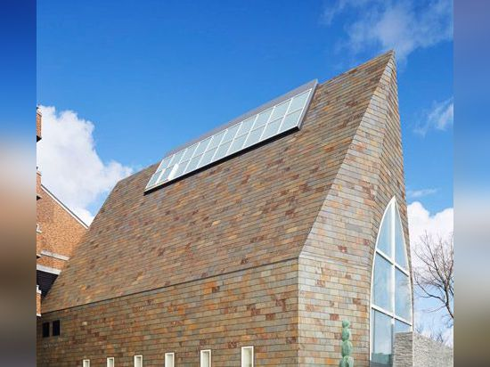 Slate-clad chapel by Eriko Kasahara boasts a veil-inspired ceiling structure