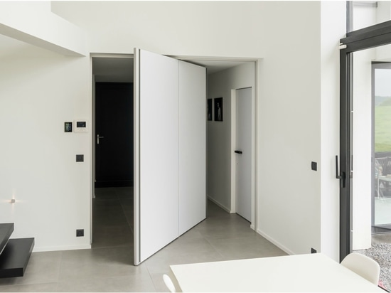 Modern pivot door with 360° central axis hinge
