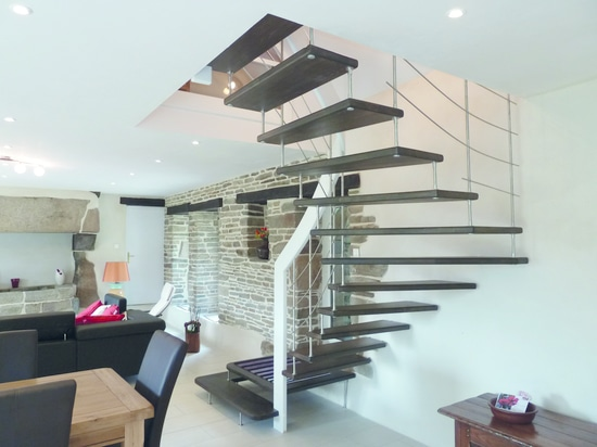 wooden hanging staircase