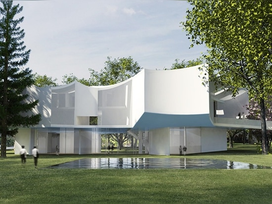 Steven Holl's minimalist new visual arts center reflects the beauty of old-growth trees