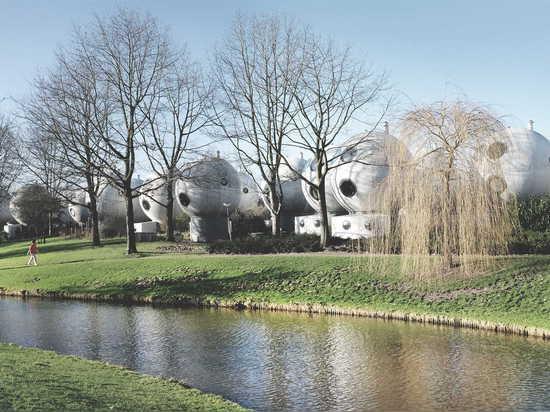 "The ""ball houses"" in Den Bosch were designed by Dutch artist Dries Kreijkamp."