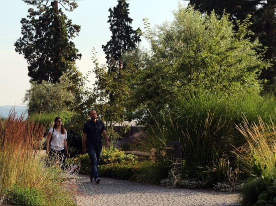 Various flowerbeds are filled with many perennials and trees.