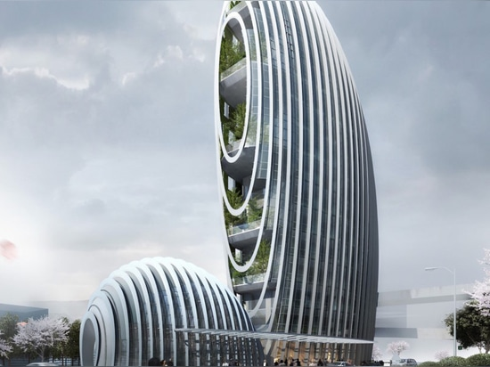 Pebble-shaped office building adds an icon of sustainability to Taipei