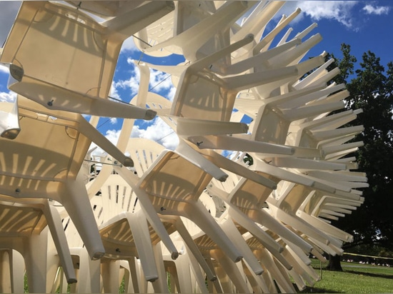 Spiky URCHIN pavilion is made from hundreds of plastic chairs