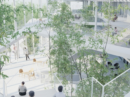 relaxation areas spill out onto a linear park, continuing the sense of flexibility