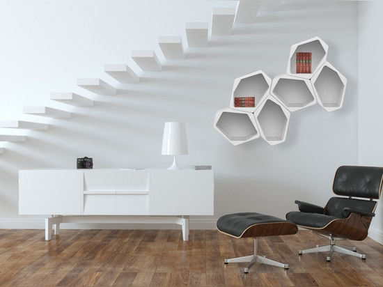 A shelving which is made from air!