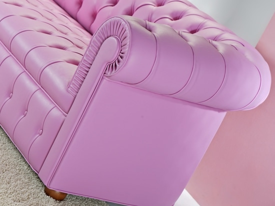 Pink Chesterfield Loveseat