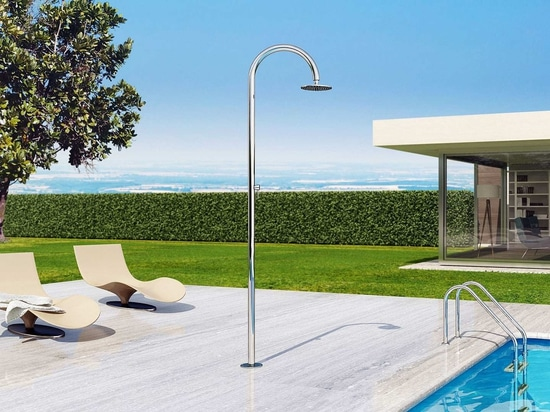 Sole 48 M Beauty - Stainless steel nautical outdoor shower for swimming pool and garden