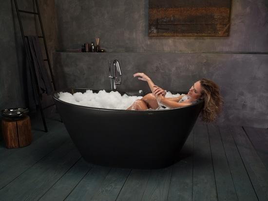 PURESCAPE 748-BM Graphite Black AquateX Stone Bathtub