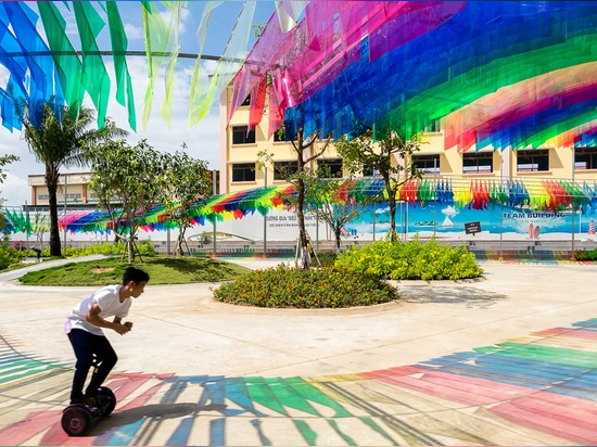 HA envelops vietnamese playground with multi-colored flags