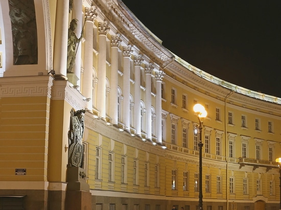 The lights in the paving. The General staff arch, Saint Petersburg, Russia