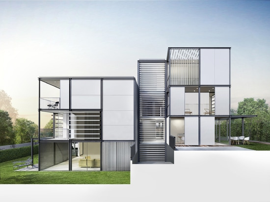 For the design of the exterior facades of this project, the architects have combined large format ceramic tiles, up to 3,200 x 1,500mm in large rectangular plates. The position of said plates is ho...