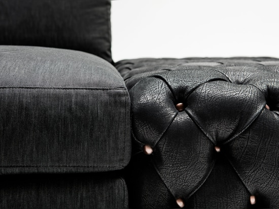 Sofa Joey BertoLive with pouf capitonné in leather