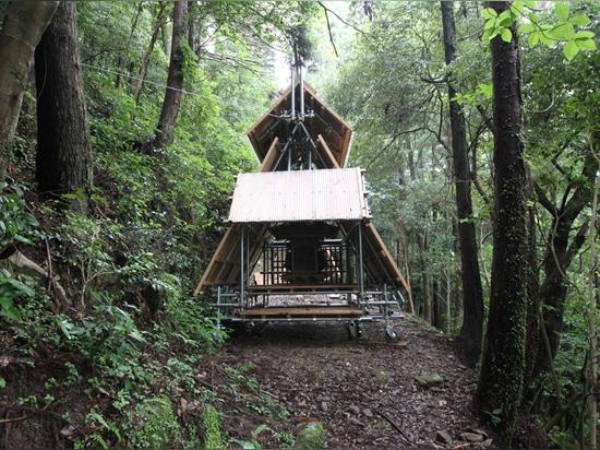 kikuma watanabe designs a movable wooden shinto shrine in the mountains of kochi