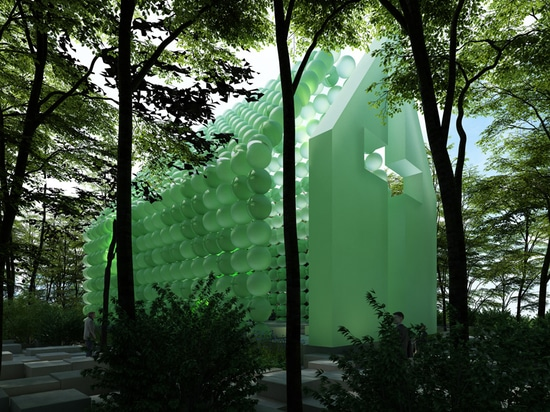 town and concrete's green chapel in the woods is made of spheres