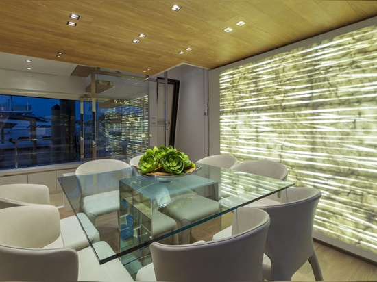 """The """"rigel"""" texture in Sanlorenzo 86 yatch by Marty Lowe Interior Design."""