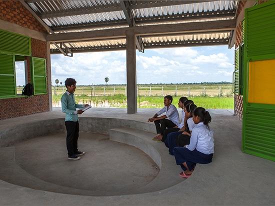 weston williamson + partner and building trust international design brick-clad school in cambodia