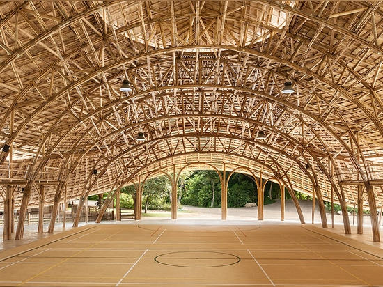chiangmai life architects constructs zero-carbon sports hall in thailand entirely from bamboo
