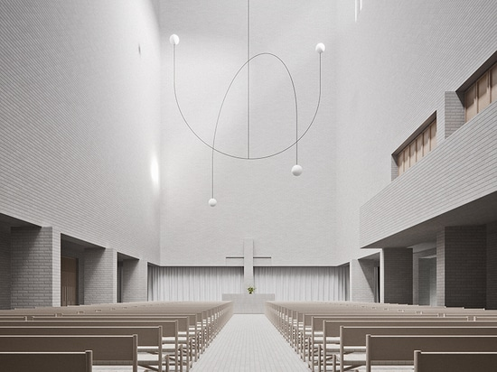 förstberg ling designs a lighthouse-modeled church for a competition entry in finland