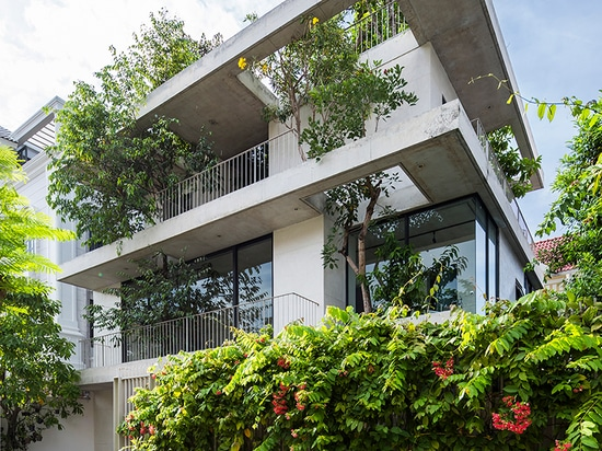trees protrude through VTN architects' 'stacked planters house' in vietnam