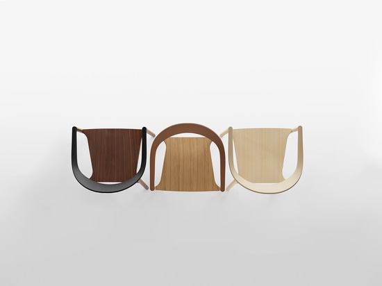 PLANK - MONZA armchair, structure in walnut, oak and ash natural laquered, backrest in polypropylene in the colours black, caramel and caffe latte.
