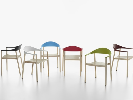 PLANK - MONZA armchair, structure in ash natural laquered, backrest in polypropylene in the colours black, white, light blue, traffic red, yellow green and wine red.