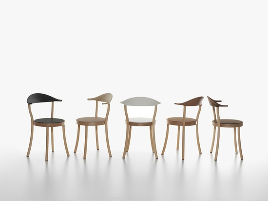 PLANK - MONZA bistro chair,  beech wooden structure natural lacquered, backrest in polypropylene in the colours black, white, caffe latte, caramel, terra brown. Seat made of flexible integral skin ...