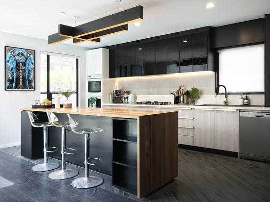 Open kitchen with Awa Faucet Fleaker Tap. Project 101 Thornbury, Australia