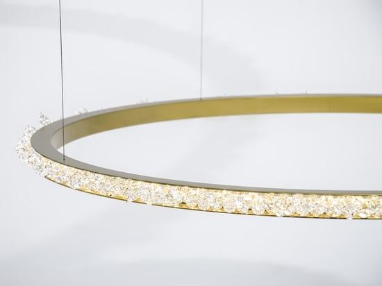 Golden Halo crystal chandelier