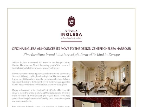 Oficina Inglesa announces its move to the Design Centre Chelsea Harbour