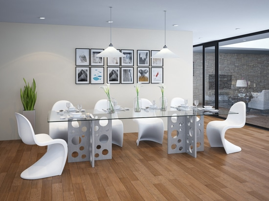 Bubble rectangular concrete table with glass top for dining room